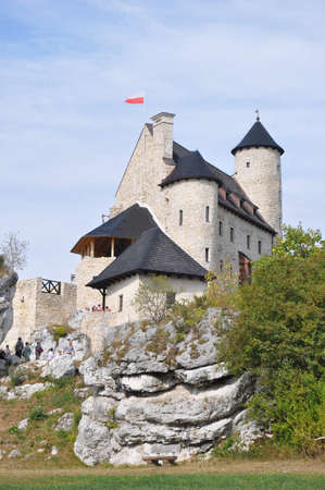 eagle nest rock: Castle called Bobolice is one of the medieval fortresses in the Jura upland  near Krakow, Poland   All the fortifications are called Eagle