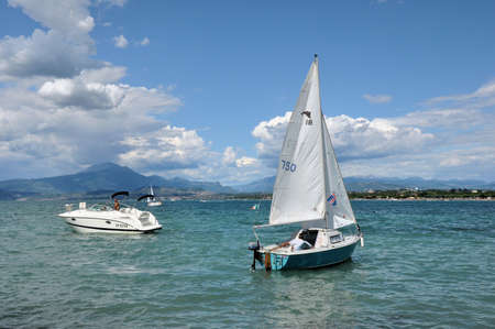 Sailing boats in the windy summerday on Lake Garda, Italy,Photo taken  20th August, 2012