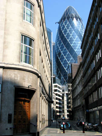 The modern 30 St Mary Axe in London, UK  The building is called Swiss Re Building or informally the Gherkin