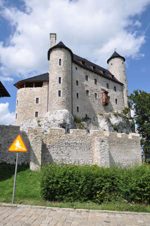 bobolice: View of beautiful renovated castle on Bobolice Poland