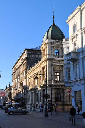 continuously: LODZ, POLAND - JUNE 23: OId Hotel Grand on June 23, 2015 in Piotrkowska Street in Lodz, Poland. Hotel Grand is operating continuously since 1888. Editorial
