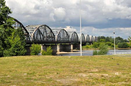truss: Poland - Grudziadz, famous truss bridge over Vistula river.