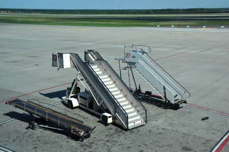 movable: KATOWICE - JULY 2: Movable ramp parked on the airport field, waiting for the landing of a plane on July 2, 2015 in Katowice Airport, Poland.