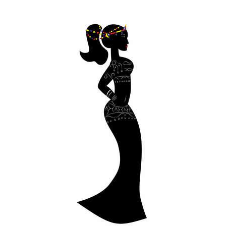 beautiful black woman: beautiful black woman in the original dress.
