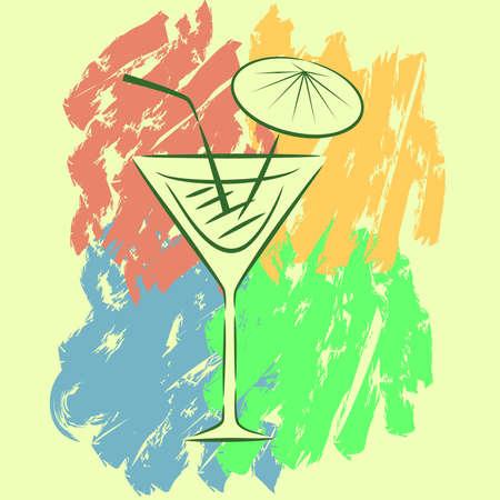 rainbow cocktail: disegno luminoso, allegro e simpatico di un cocktail.