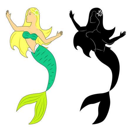 wunderschöne Meerjungfrau in einer Reihe mit einer schwarzen Silhouette.