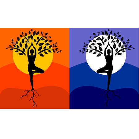 yoga asana tree pose: silhouette of man in tree pose in art processing on the background of the day and night. Illustration