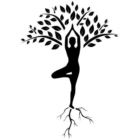 yoga women: silhouette of man in tree pose in art processing .