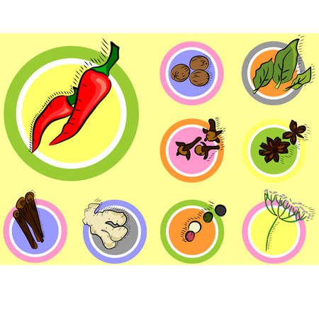 colorful icons with a variety of spices.