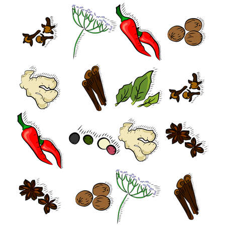 additives: a set of different types of spices. Illustration