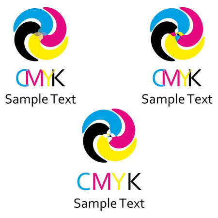 offset printing: a set of logos on the theme of color model cmyk. Illustration