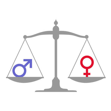 equidad: ilustraci�n dedicada a la igualdad de g�nero. Vectores