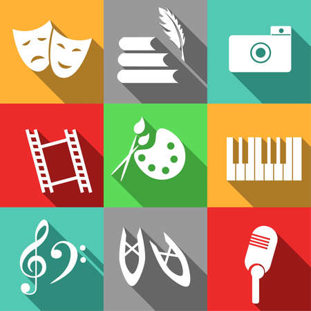 set of icons dedicated to theater. Vector