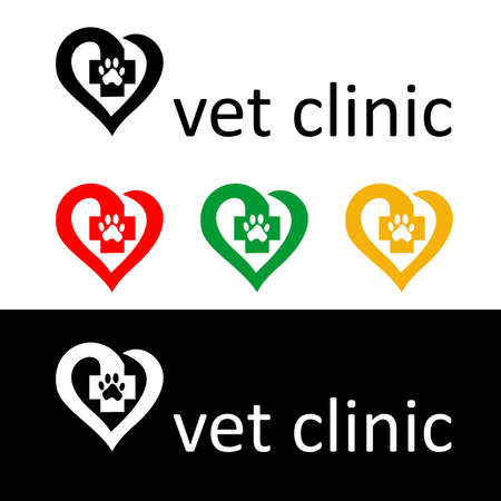 veterinarian symbol: different versions of the logo of the veterinary clinic . Illustration