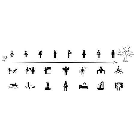 vejez: Icono de conjunto con la gente desde el nacimiento hasta la vejez y en diferentes situaciones.