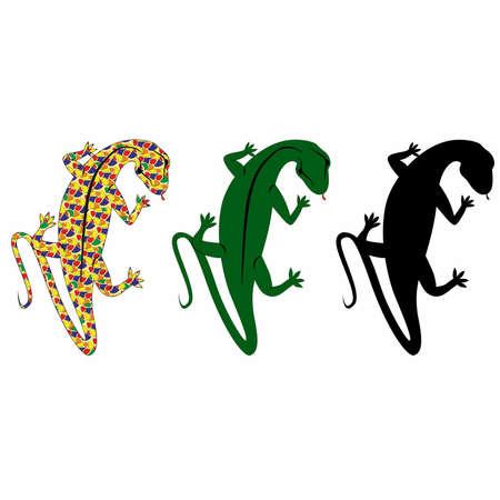 salamandre: un ensemble de salamandre, plus salamandre dans le style de Gaudi, plus sa silhouette.