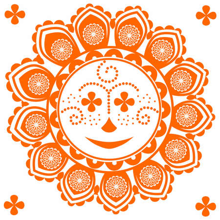 Unusual and very fun sun with the elements of the pattern. Illustration