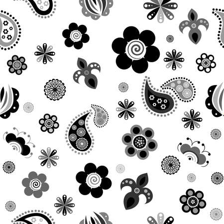 colorful slide: the Illustration dedicated to the beautiful flower ornament in black. Illustration
