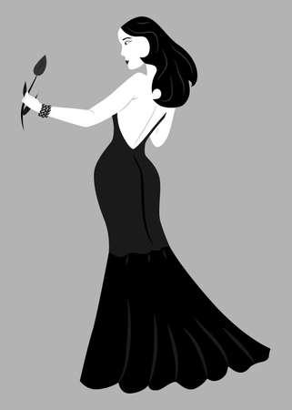 belle dame: illustration d�di� � la belle dame en noir. Illustration