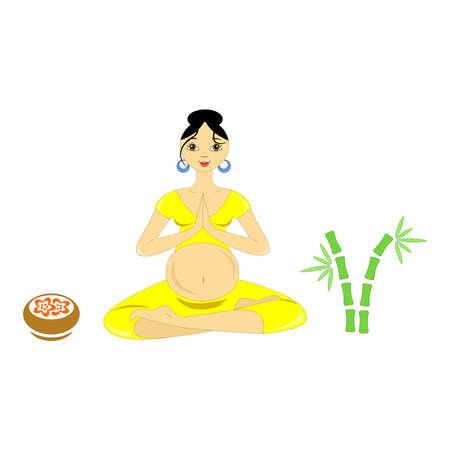 pregnancy yoga: the illustration dedicated to the  pregnant women. Illustration