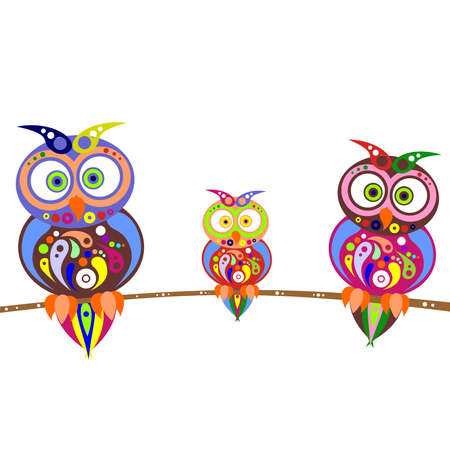 the illustration dedicated to the colorful owls. Vector