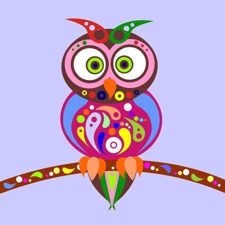 de illustratie gewijd aan de kleurrijke uilen.