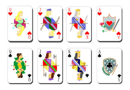 roulette layout: beautiful and original set of designer playing cards. Illustration