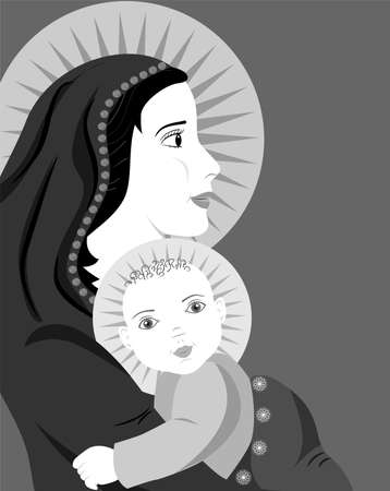 relatives: the illustration dedicated to the mother and child.