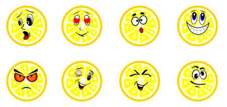 limones: la Ilustraci�n dedicada a los limones divertidos con las caras. Vectores