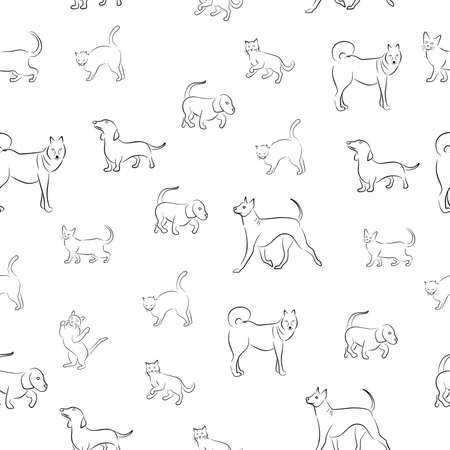 padded: seamless pattern in black and white with the image of animals cats and dogs