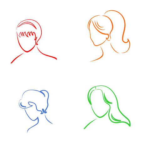 beauty contest: the vector Illustration dedicated to the hairstyles