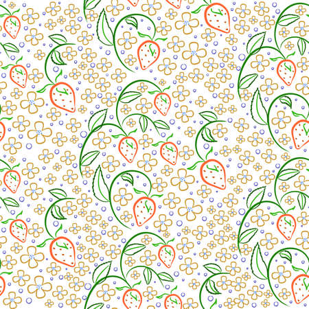 padded: Vector seamless pattern with strawberries in vintage style