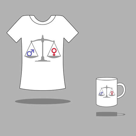 illustration with a model drawing on a cup or Tshirt. It is devoted to gender equality.
