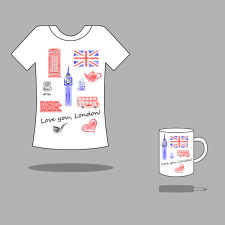 cell phone booth: illustration with a model drawing on a cup or Tshirt. It is devoted to Great Britain.