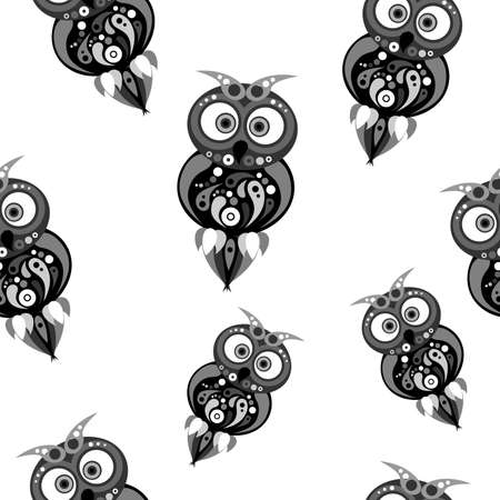 the illustration dedicated to the colorful owls.