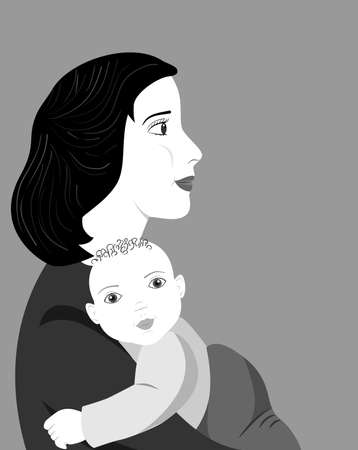 mother love: the illustration dedicated to the mother and child.