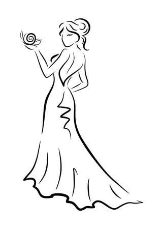 silhouette d'une belle femme dans une robe longue.