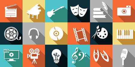 set of icons dedicated to arts: painting, music, literature, ballet, theater and cinema.