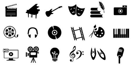 dancing silhouettes: set of icons dedicated to arts: painting, music, literature, ballet, theater and cinema.