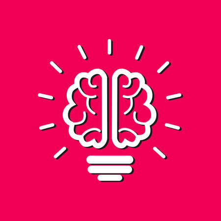knowledgeable: illustration on the theme of brain and ideas. Illustration
