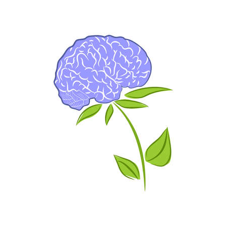 knowledgeable: illustration with a stylized image of the brain as a flower.