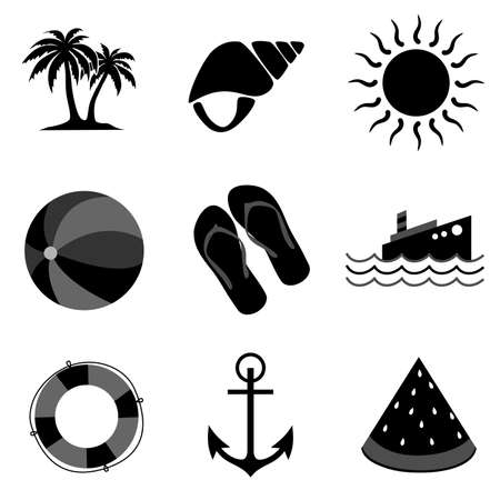 watermelon boat: Icons dedicated to relaxing on the beach and summer. Illustration