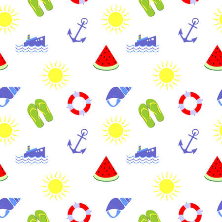watermelon boat: seamless background dedicated to relaxing on the beach and summer. Illustration