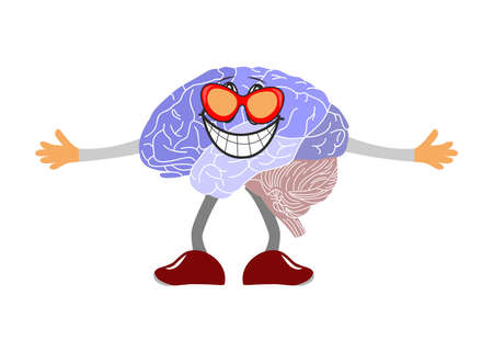 has: fun illustration of the brain, which has a charming smile. Illustration