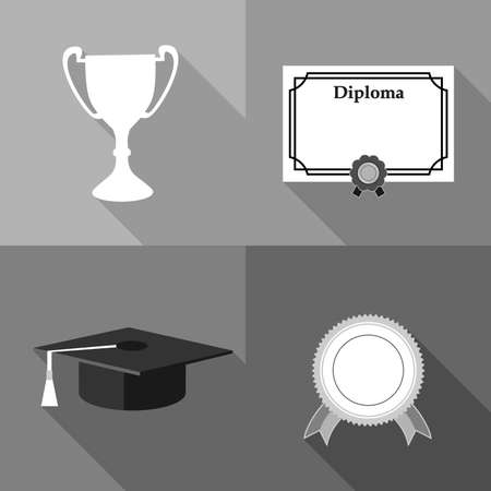 higher: set of icons on the subject of higher education and graduate.