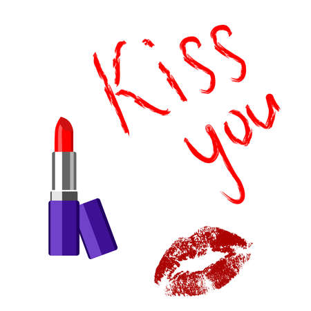 flirting: playful illustration with lipstick on the topic of flirting.