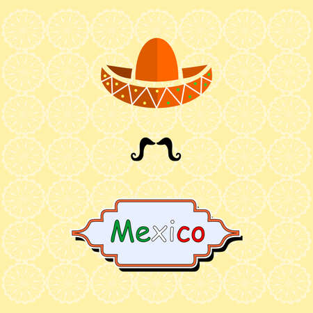 serenade: Illustration in the style of a flat design on the theme of Mexican style.