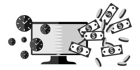 ebusiness: illustration dedicated to the concept that time is money and e-business.