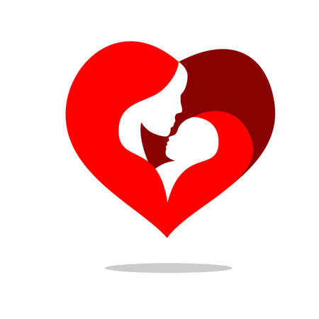 reproductive health: illustration of a mother and baby, decorated with heart shape. Illustration