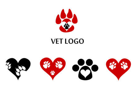 centers: set of icons and logos, suitable for veterinary clinics and centers for animals. Illustration
